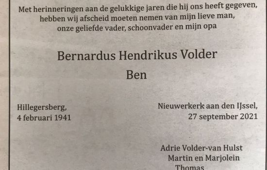 Droevig nieuws, erelid Ben Volder overleden