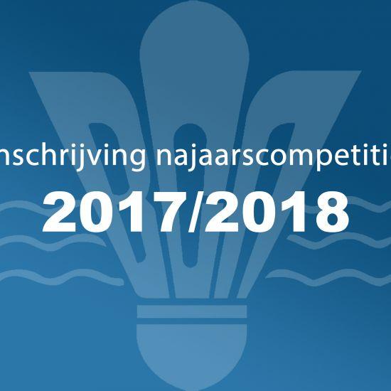 Inschrijving najaarscompetitie senioren seizoen 2017-2018