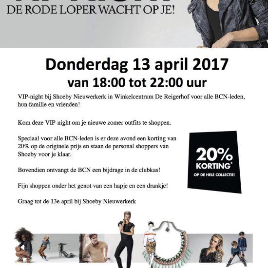 BCN-Shoeby VIP avond 13 april